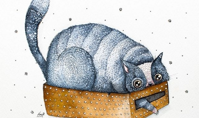 Pinturas de acuarela y tinta de Gatos peculiares